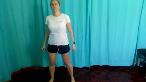 Running drills. The carioca exercise warms up the whole body, move your body to the side.