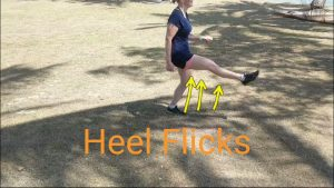 Heel Flicks: dynamic stretching before running