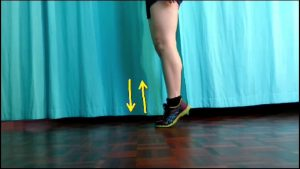 calf strengthening exercises for runners: Knees straight, raise heels up and down