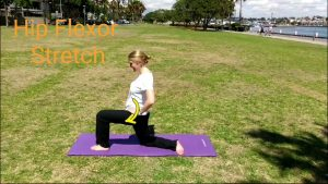 hip flexibility exercises for runners: Hip Flexors, 2nd step. Tuck the tailbone under