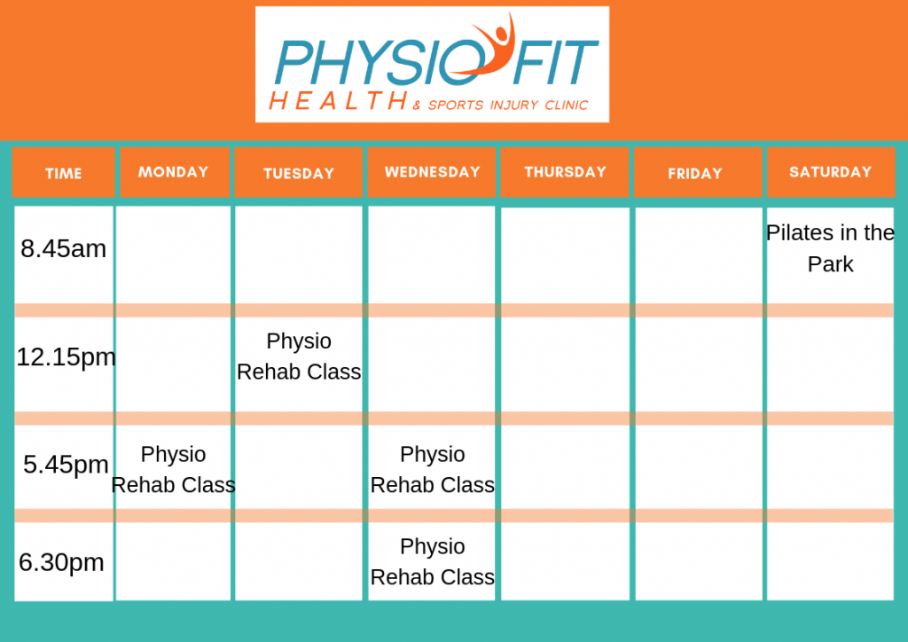 Physio Rehab Classes. Timetable.