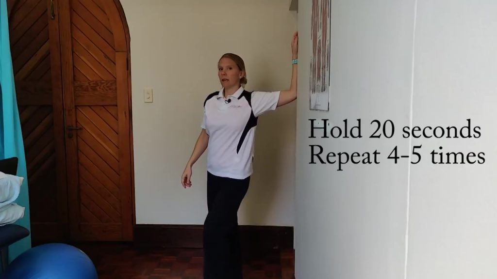 Sitting down all day - put your left hand and elbow on the doorframe and rotate your body to the right to get a stretch