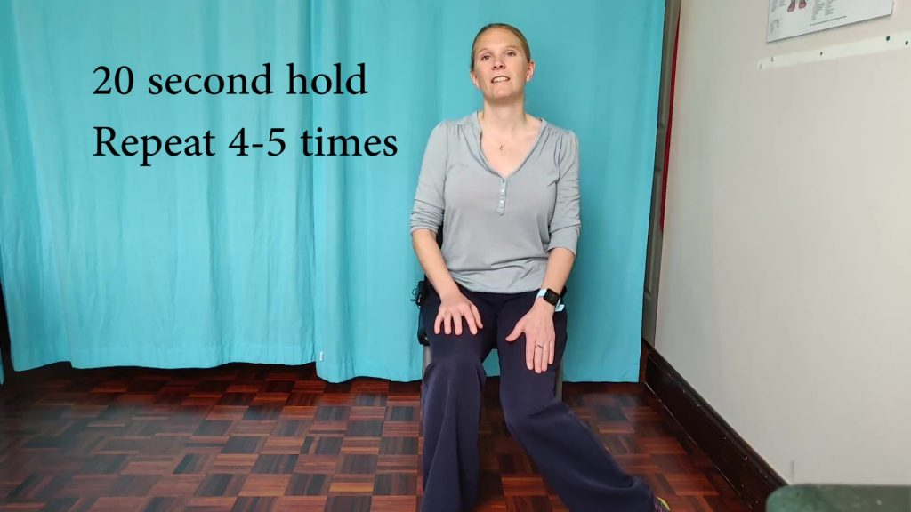 Hip rotations are the last of our suggested stretches to do at your desk. Plant your foot wide and move the knee towards the midline of the body.