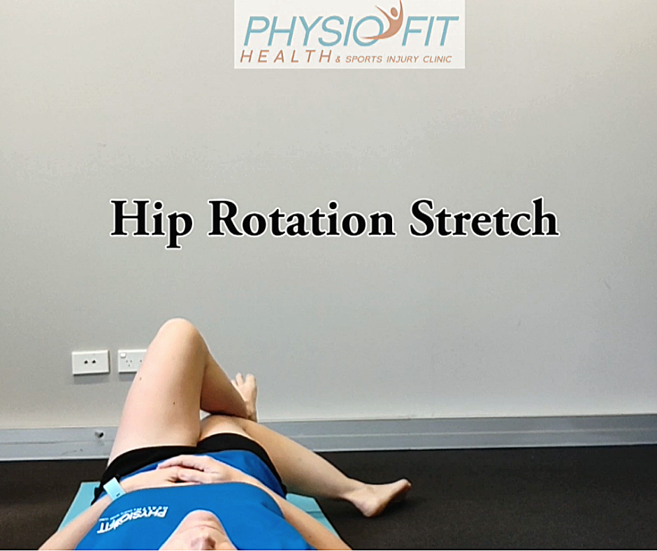#1 on our list of hip exercises is the Hip rotation stretch. This image shows how it should be done.