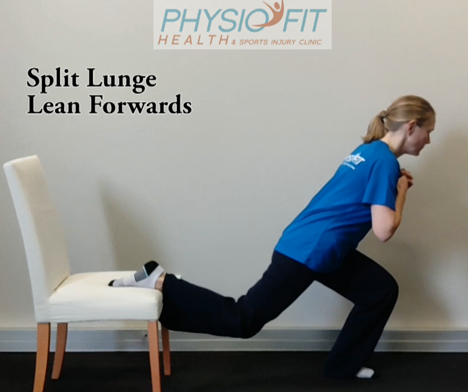 #5 on our list of hip exercises is the Split lunge. This image shows how it should be done.