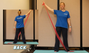 This photo shows how to do the example exercise using a resistance band.