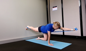 Resistance Band Strength Exercises for Lower Back: 4-Point Kneeling. This is how it should be done.