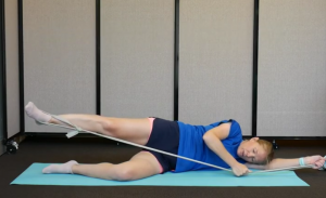 Hip Strengthening Exercises with Resistance Bands: Rotate Knee and Toes (pointed up)
