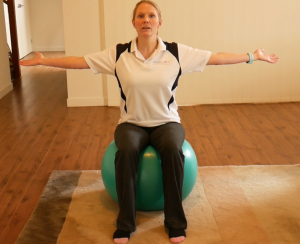 How To Do Gym Ball (swiss or fit ball) Exercises for Beginners: Exercise #2: Sit on the Ball - Add Arm Movement